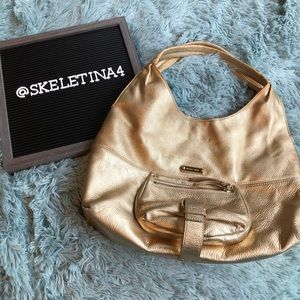 Michael Kors Gold Austin Hobo Purse Bag
